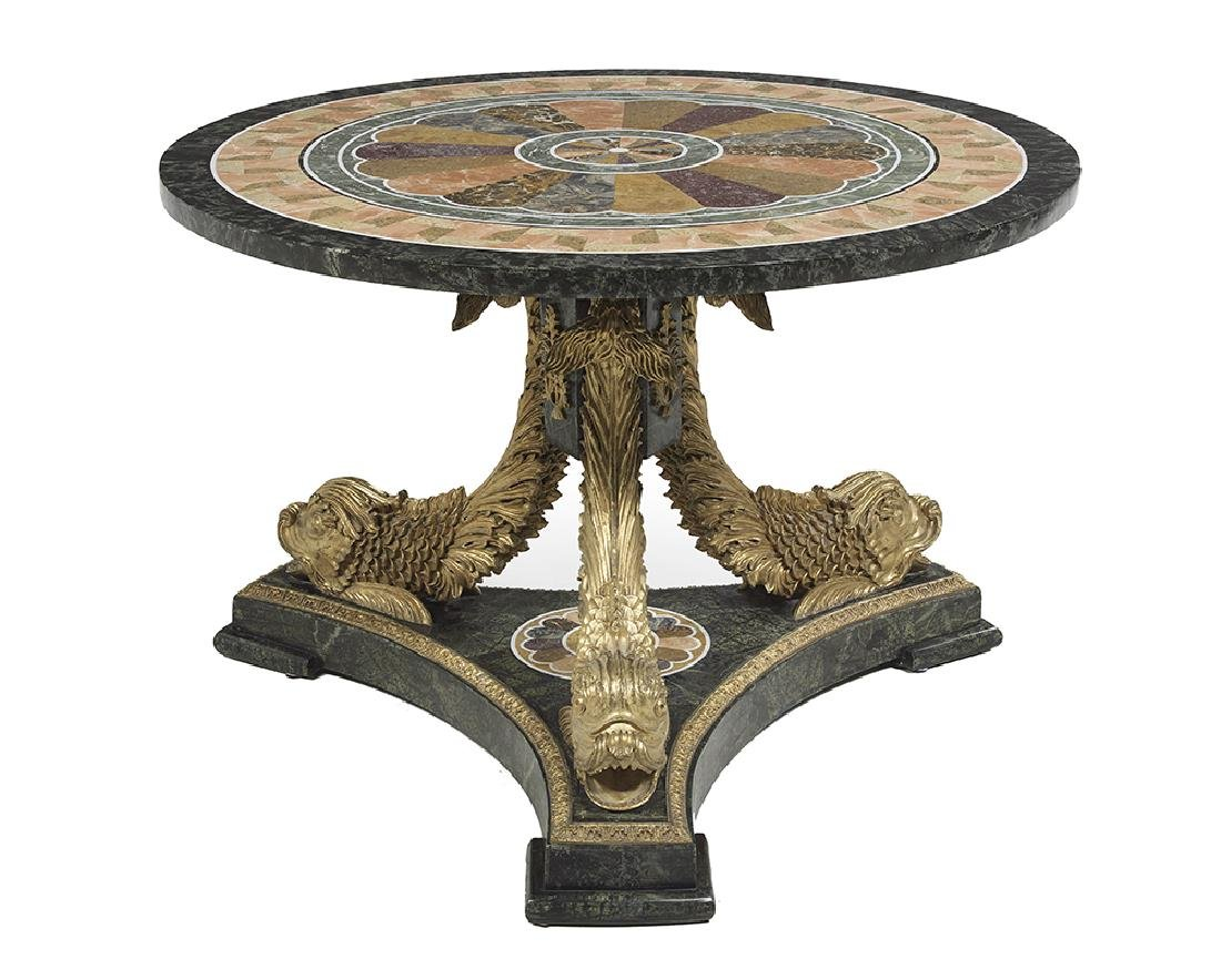 Neoclassical-Style Marble-Top Center Table - 2