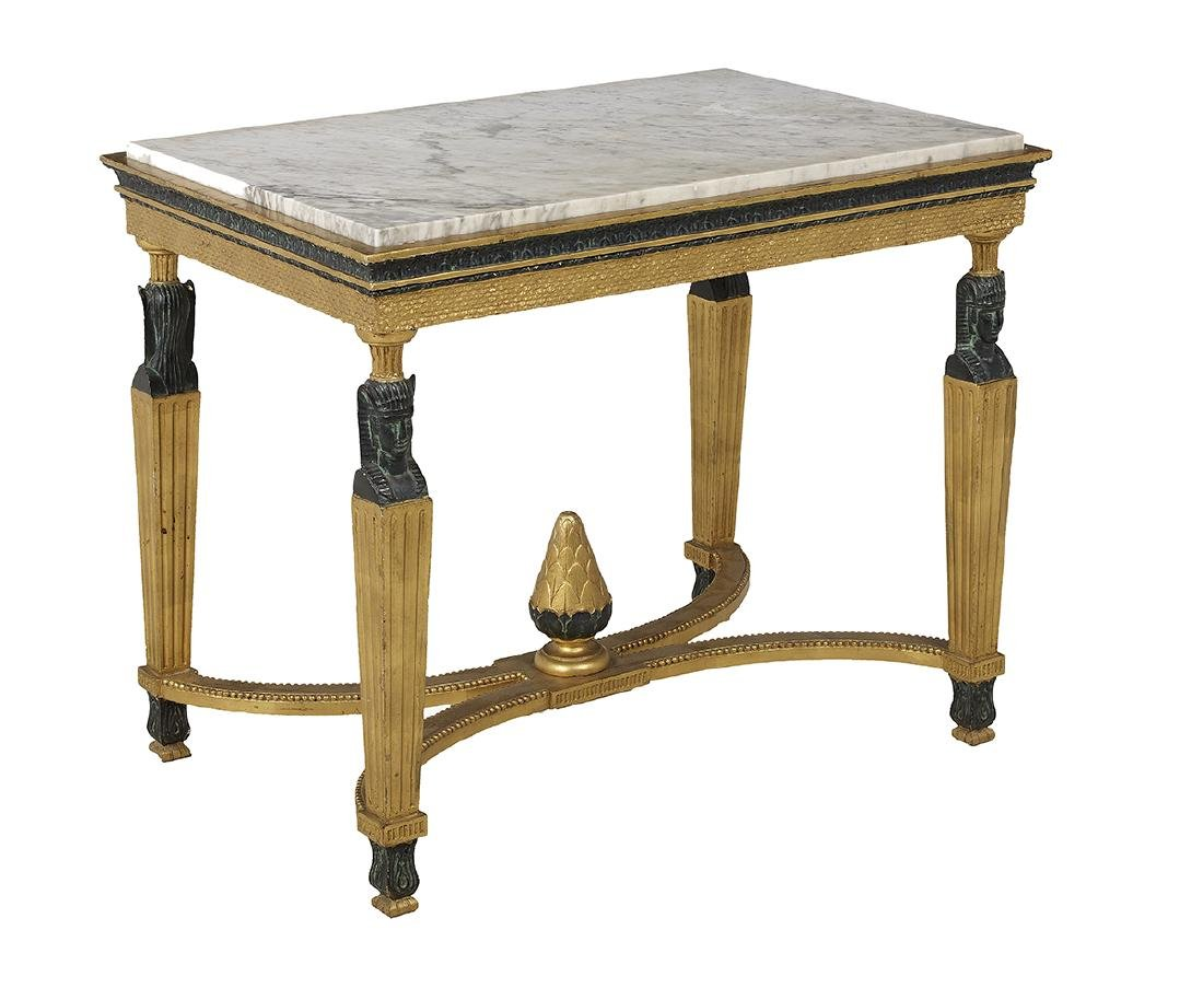 Gustavian Neoclassical Marble-Top Side Table