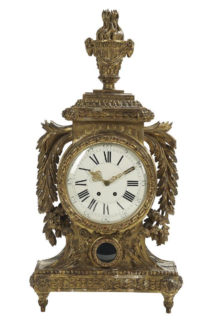 Italian Neoclassical Giltwood Mantel Clock