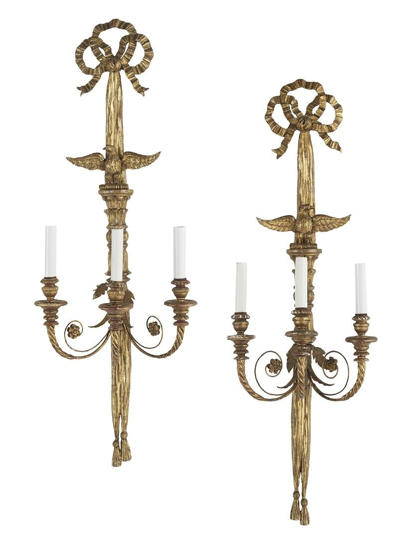 Pair of Large Italian Giltwood Sconces