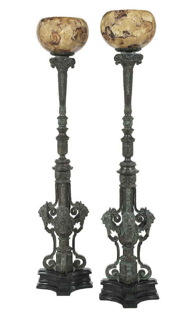 Pair of Neoclassical-Style Bronze Torcheres