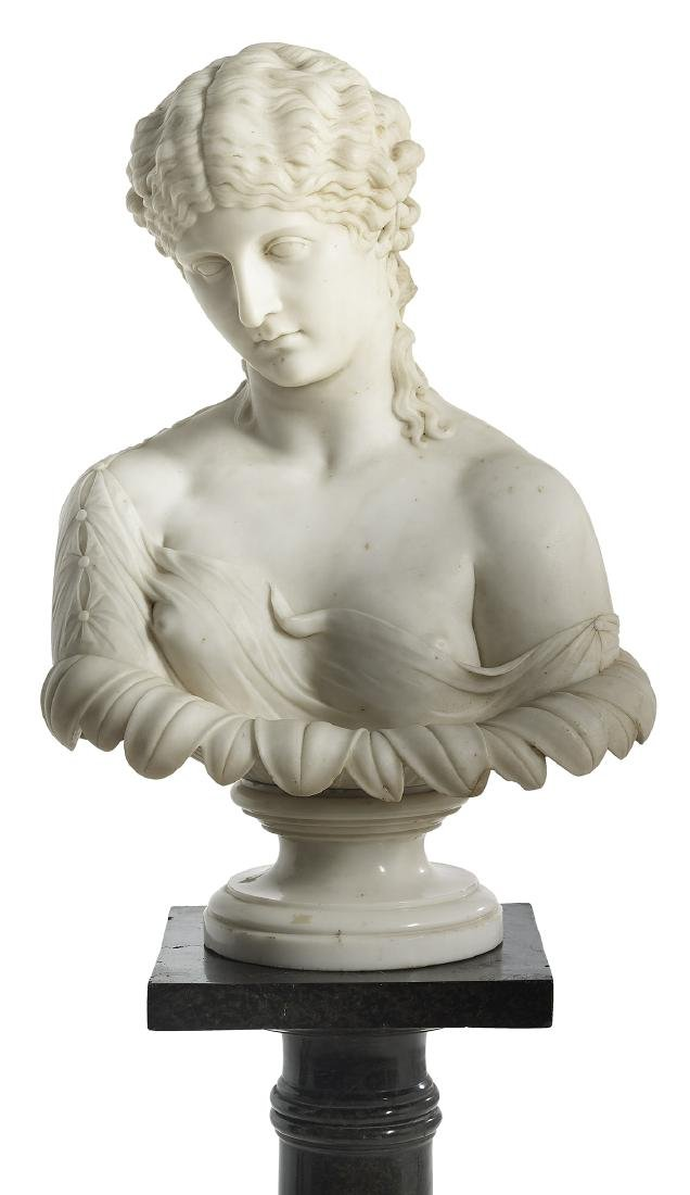 "Italian Carved Marble Bust of ""Clytie"""