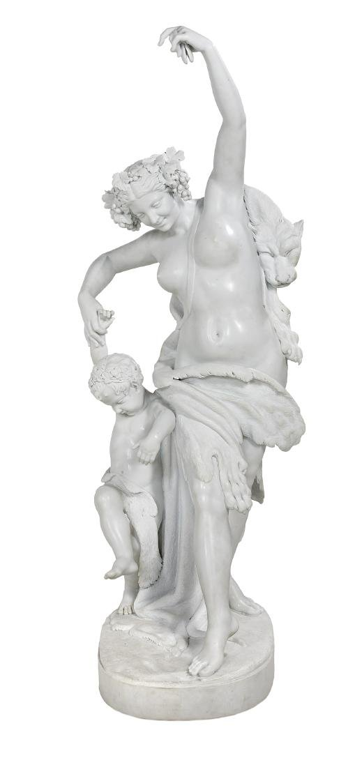 Exceptional Carved Carrara Marble Figural Group