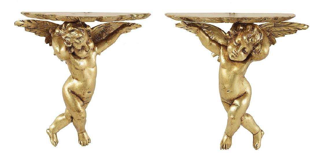 Pair of Italian Giltwood Figural Brackets