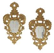 Pair of Italian BaroqueStyle Giltwood Mirrors