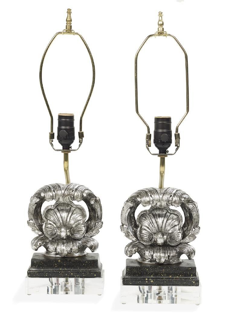 Pair of Shell-Carved Silver Gilt Lamps