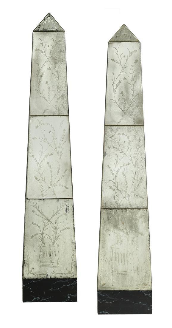 Unusual Pair of Venetian Obelisk-Form Mirrors