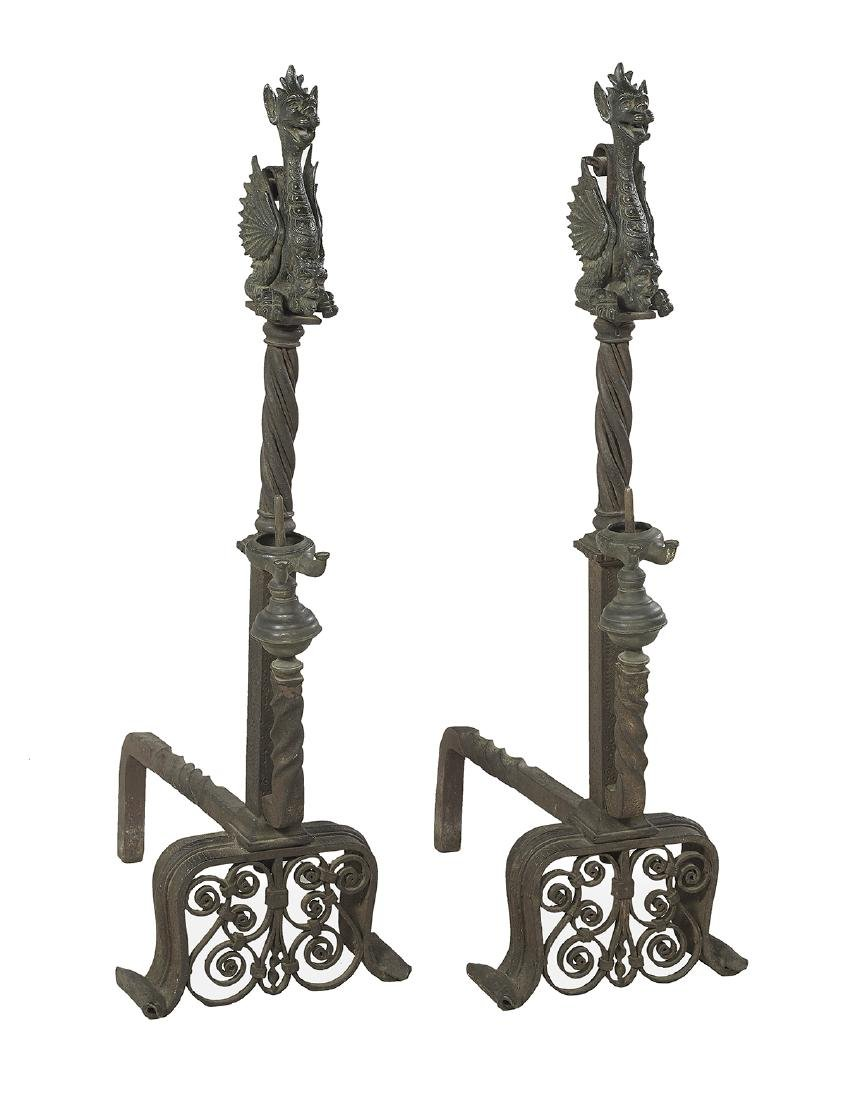Pair of Monumental Bronze and Iron Andirons