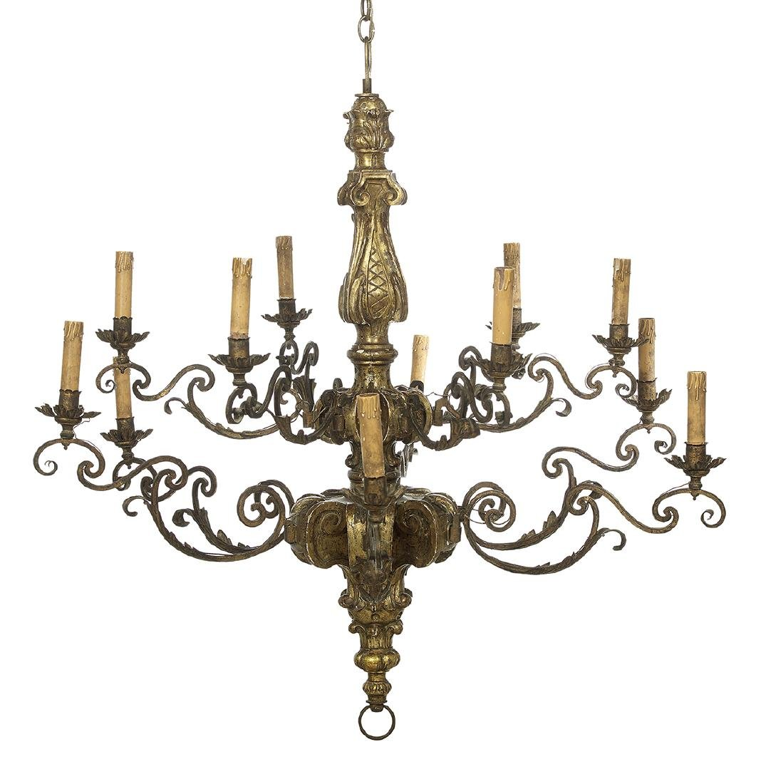 Baroque-Style Giltwood and Gilt-Metal Chandelier