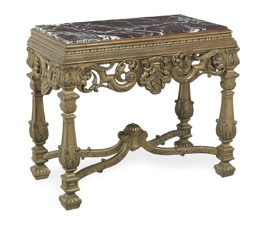 Italian Giltwood and Marble-Top Side Table