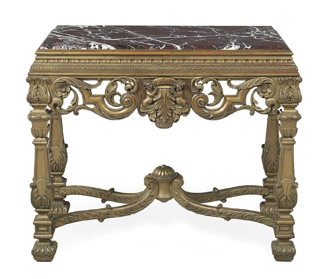 Italian Giltwood and Marble-Top Side Table - 2