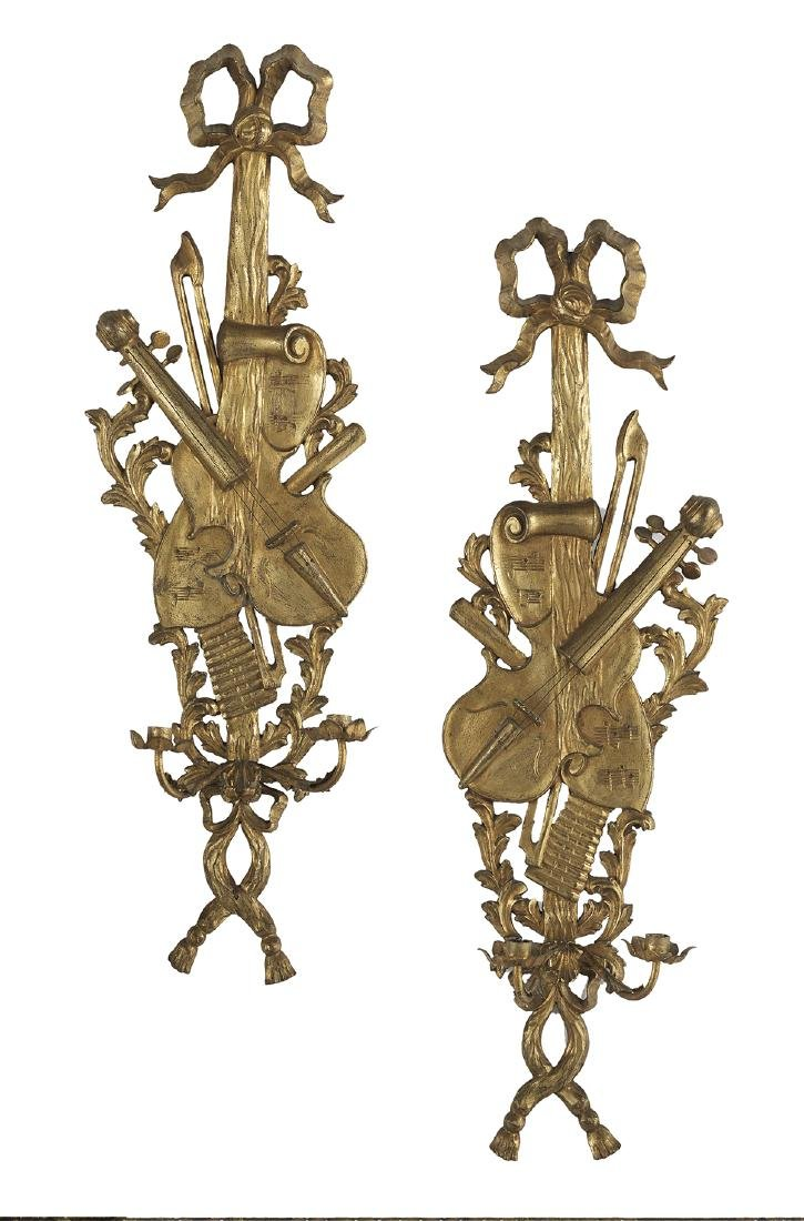 Pair of Italian Giltwood Sconces