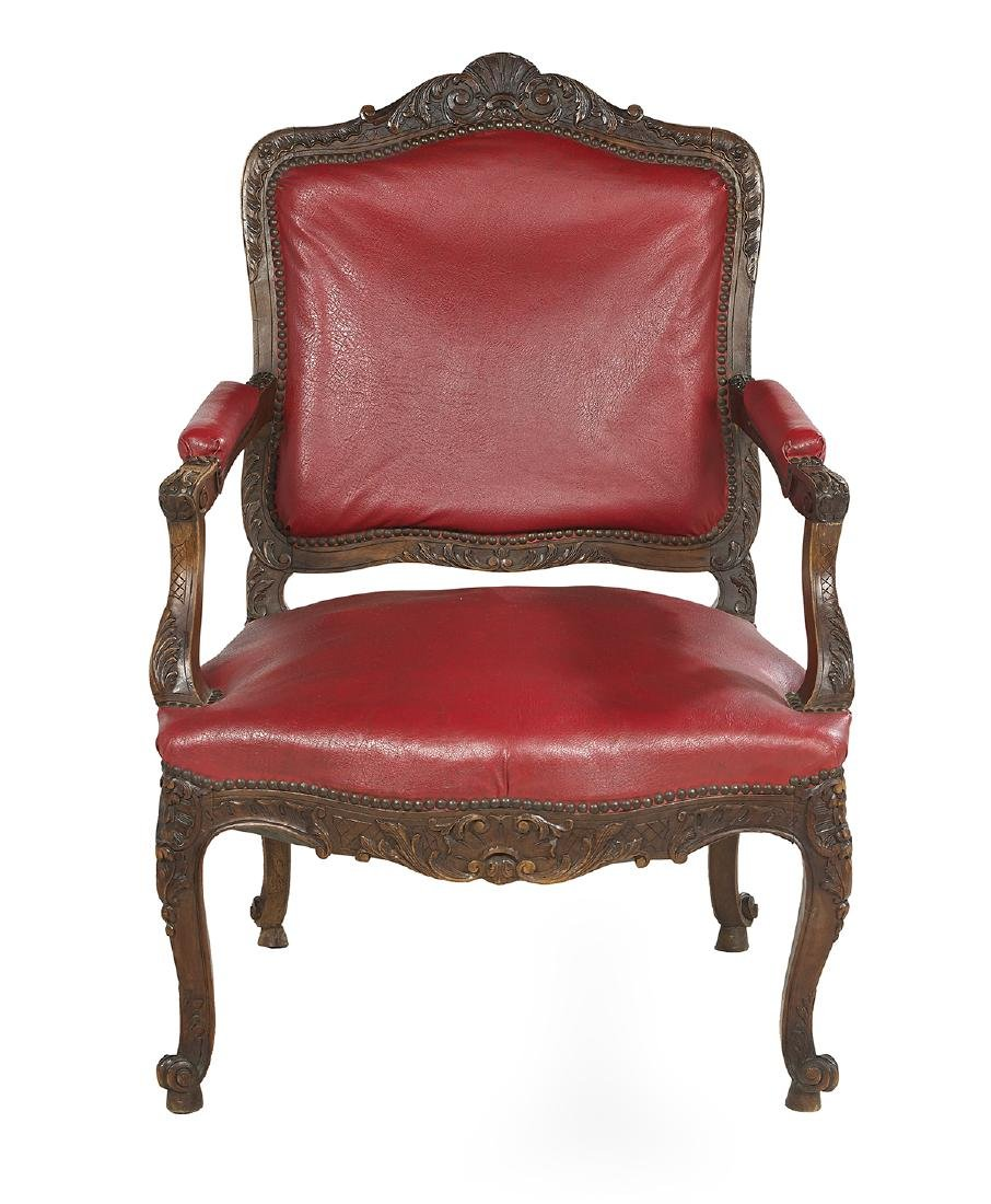 Louis XV-Style Fruitwood Fauteuil