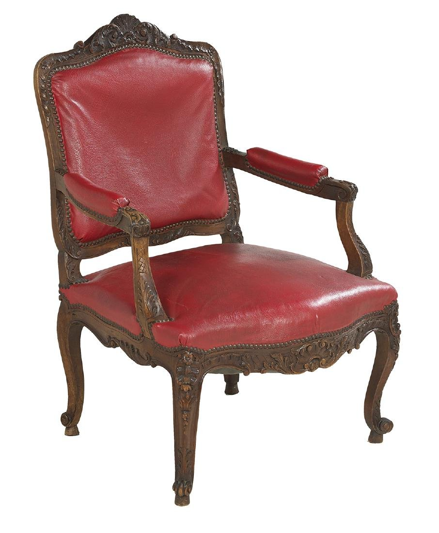 Louis XV-Style Fruitwood Fauteuil - 2
