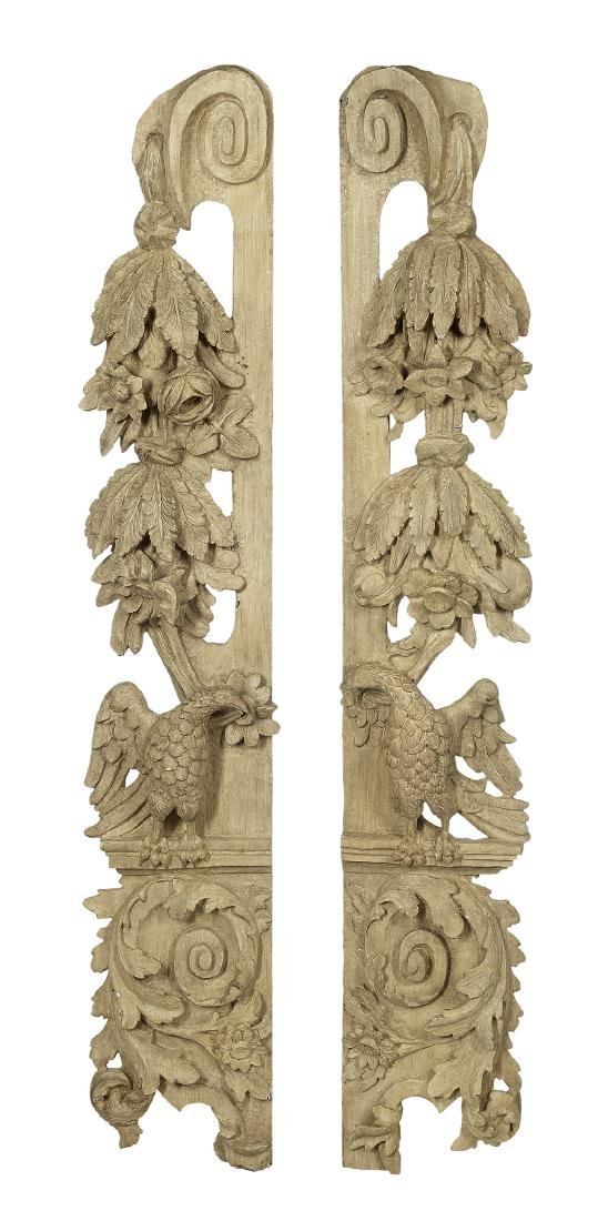 Pair of Regence Carved and Painted Appliques