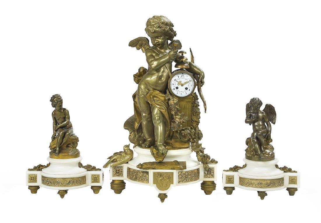 S. Marti Gilt-Bronze and Marble Clock Garniture