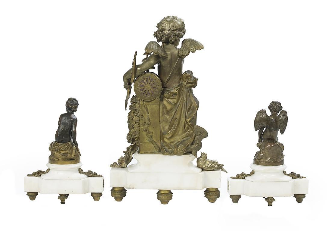 S. Marti Gilt-Bronze and Marble Clock Garniture - 2