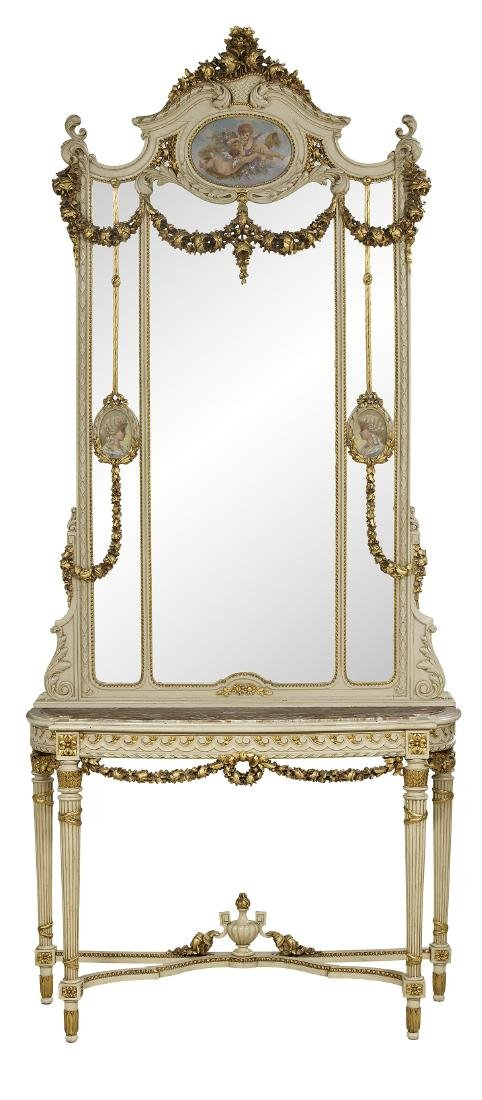 Louis XVI-Style Console and Trumeau Mirror