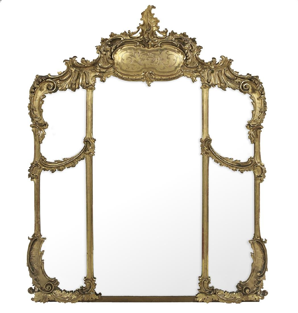 Monumental Giltwood Overmantel Mirror