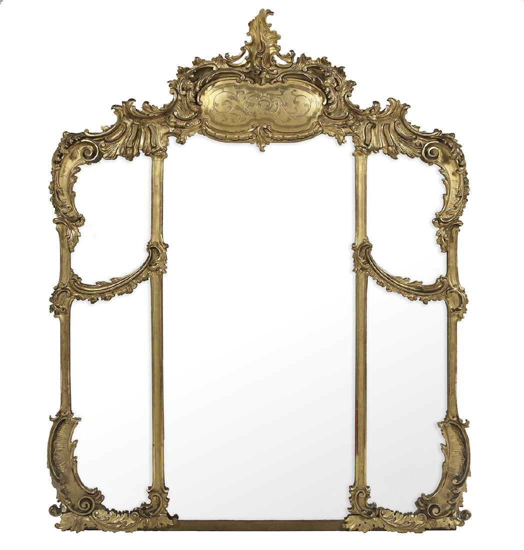 Monumental Giltwood Overmantel Mirror