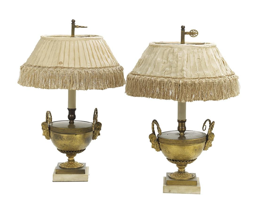 Diminutive Pair of French Bronze and Marble Lamps