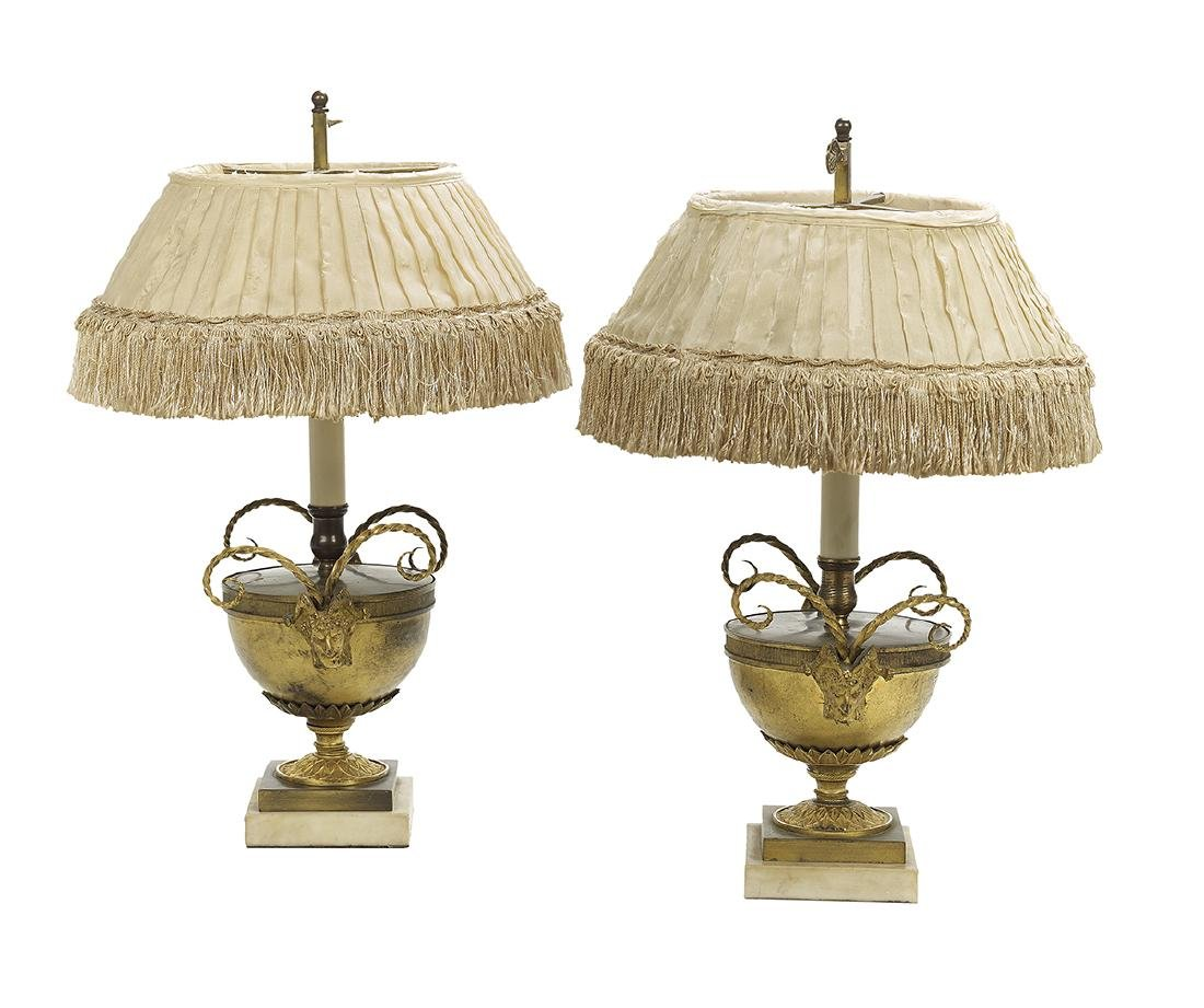 Diminutive Pair of French Bronze and Marble Lamps - 2