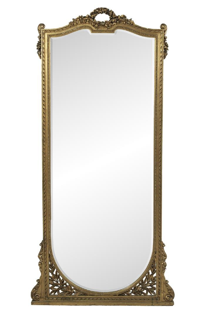 French Giltwood Pier Mirror and Jardiniere