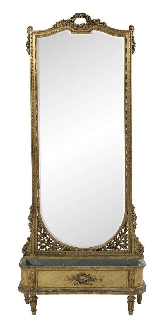 French Giltwood Pier Mirror and Jardiniere - 2