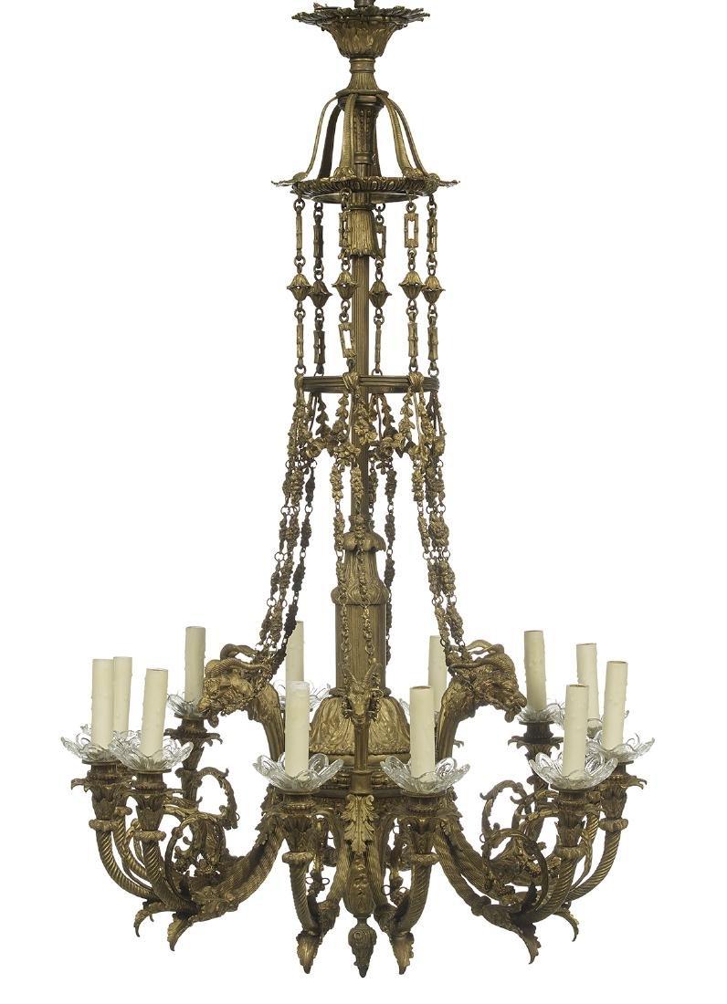 Unusual French Gilt-Bronze Chandelier
