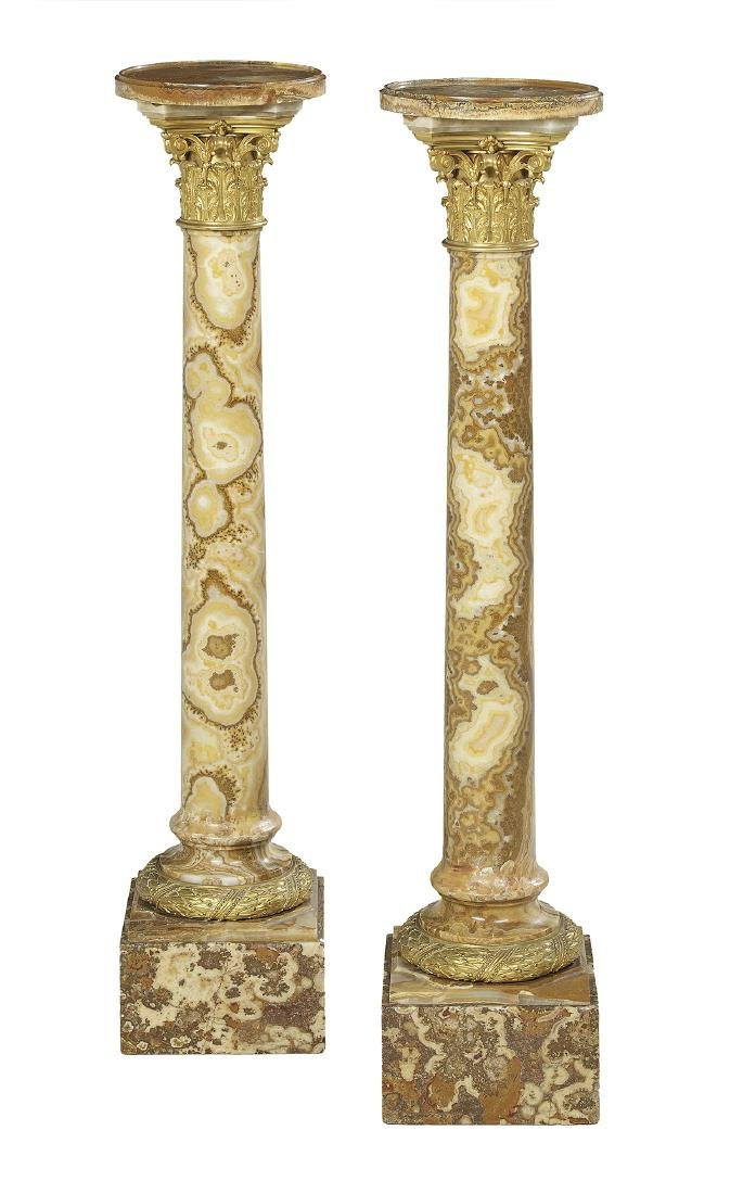 Pair of French Marble Revolving Pedestals