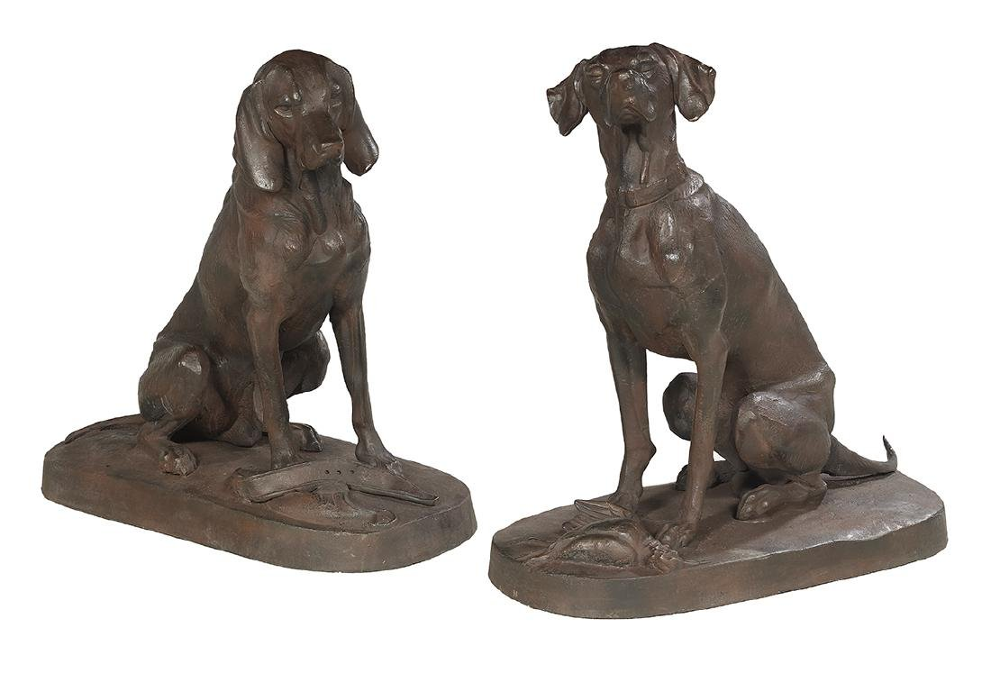 Pair of Cast Iron Retrievers