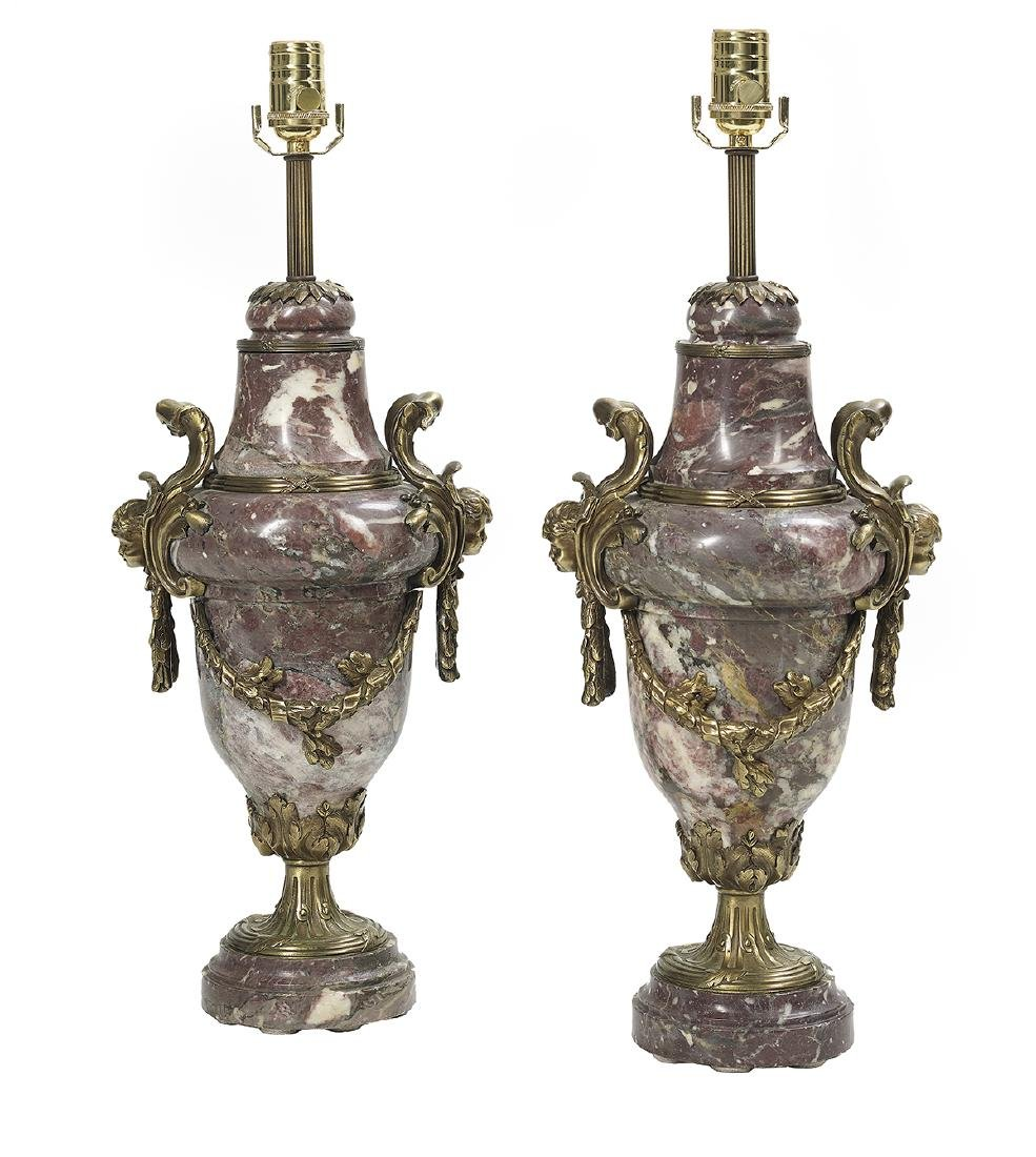 Pair of French Marble and Bronze Lamps