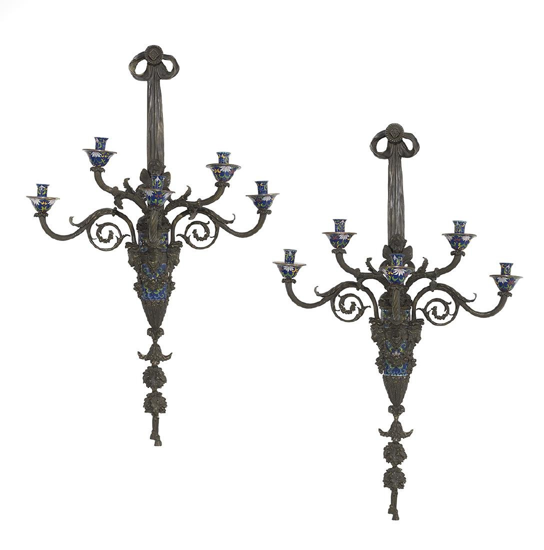 Pair of Bronze and Enamel Sconces