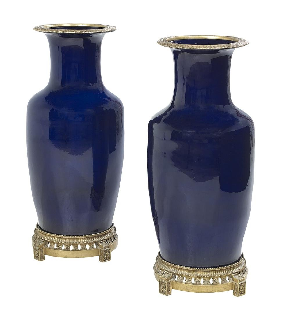 Pair of Palace-Scale Porcelain Vases