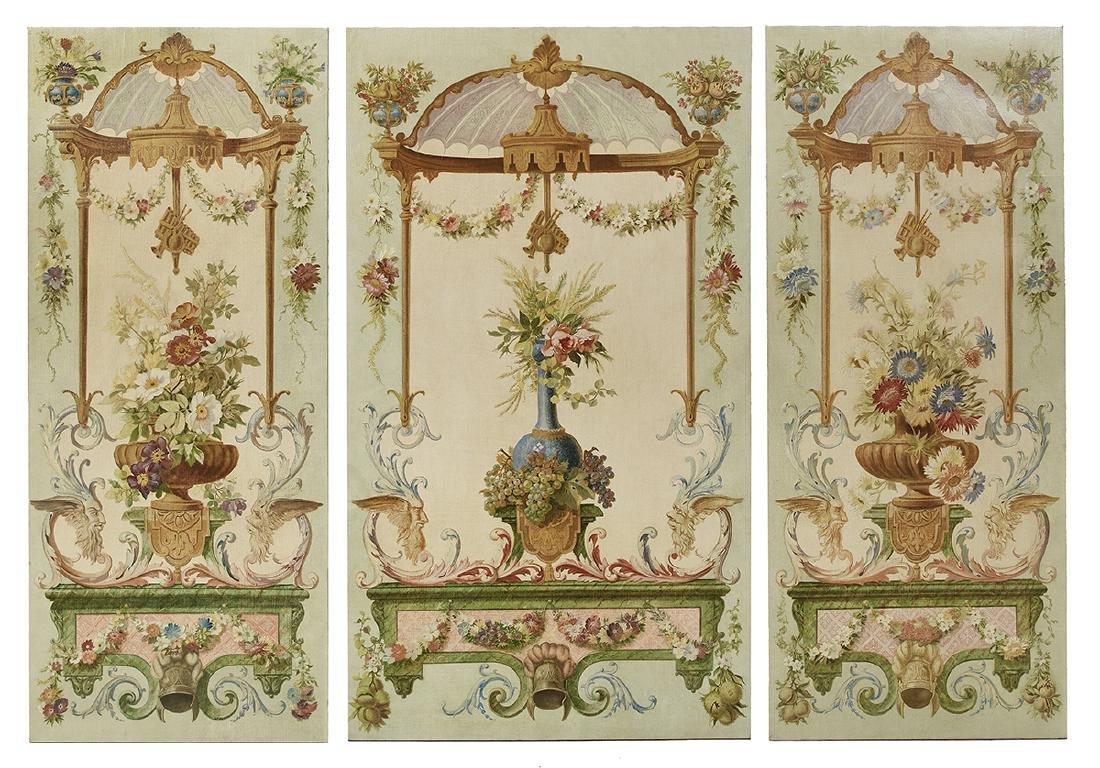 Three Napoleon III Oil-on-Canvas Wall Panels