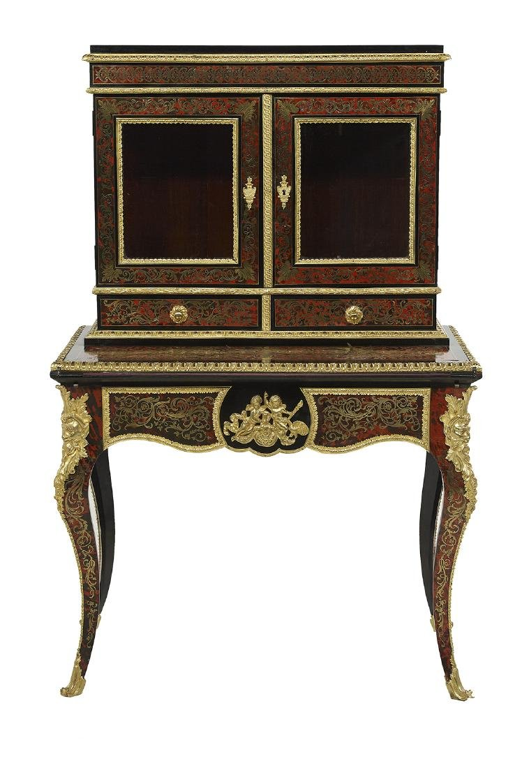 Napoleon III-Style Boulle and Ebonized Desk