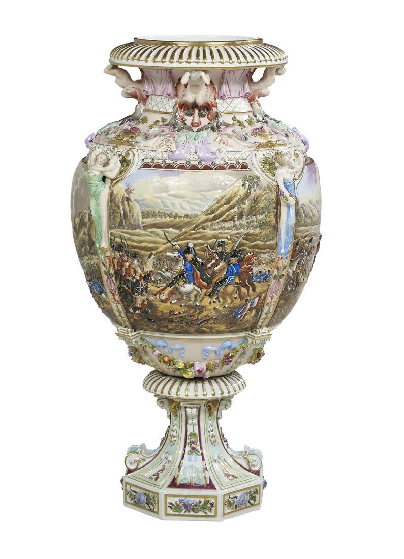 Capodimonte Molded and Polychrome Vase