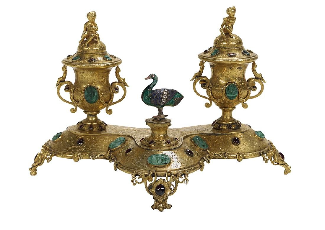 French Jeweled Gilt-Bronze Encrier