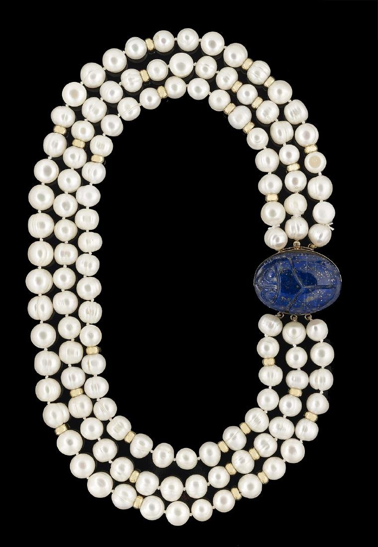 Baroque Pearl and Lapis Lazuli Necklace