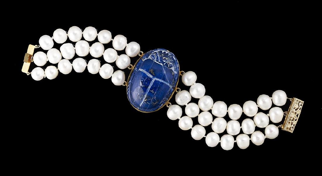 Baroque Pearl and Lapis Lazuli Bracelet