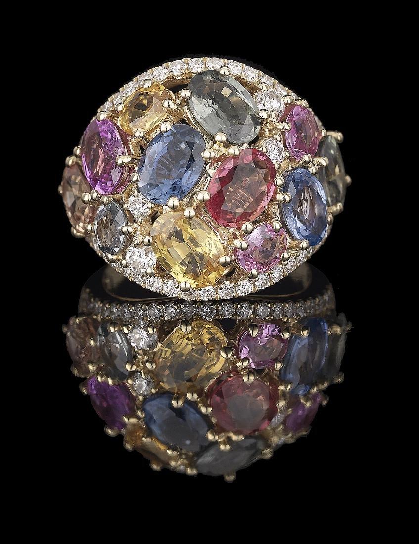 Multicolored Sapphire and Diamond Ring