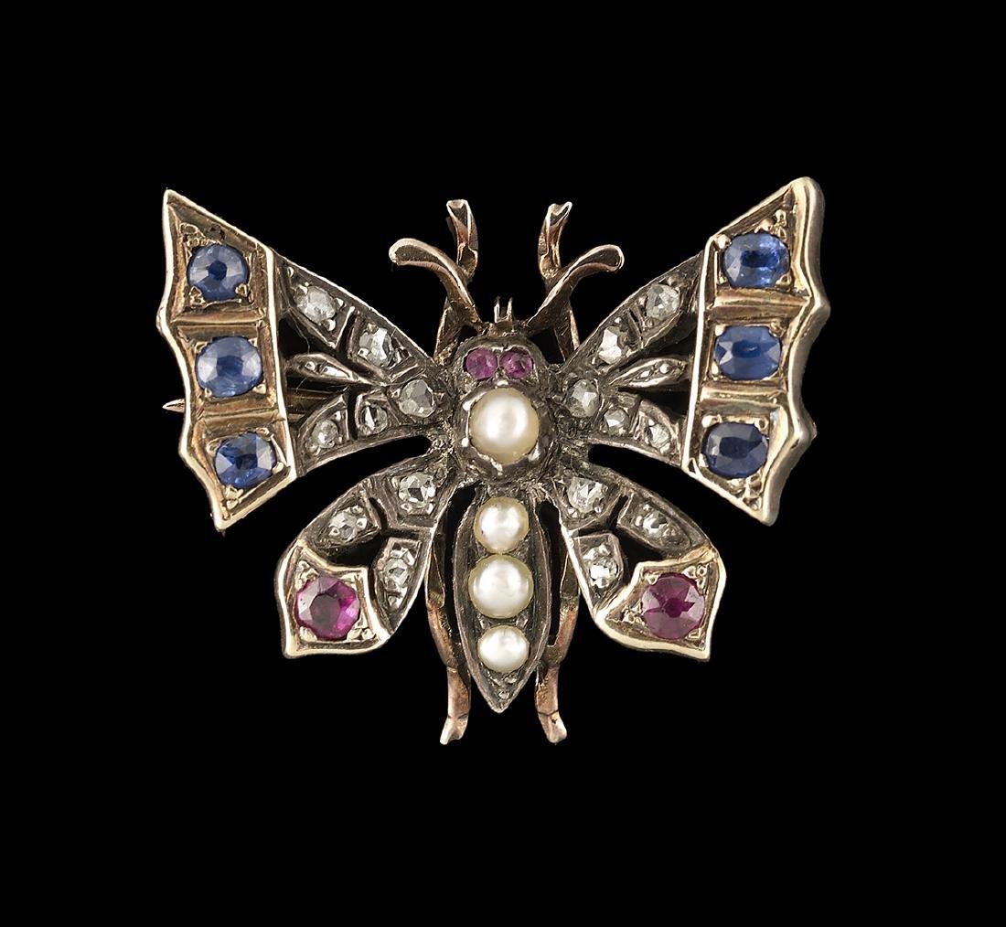 Diamond, Sapphire, Ruby & Pearl Butterfly Brooch