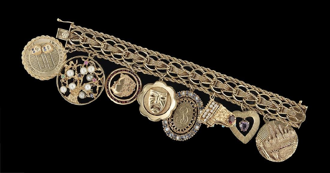 Gold and Gemstone Charm Bracelet