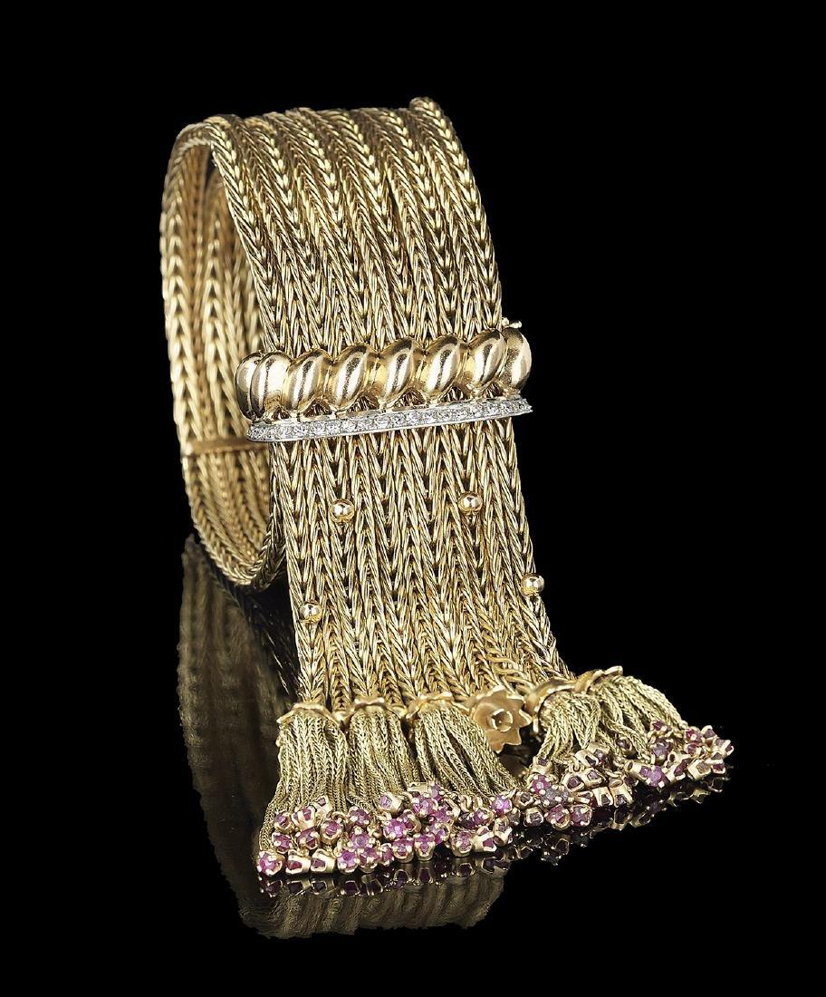 Diamond and Ruby Fringe Bracelet