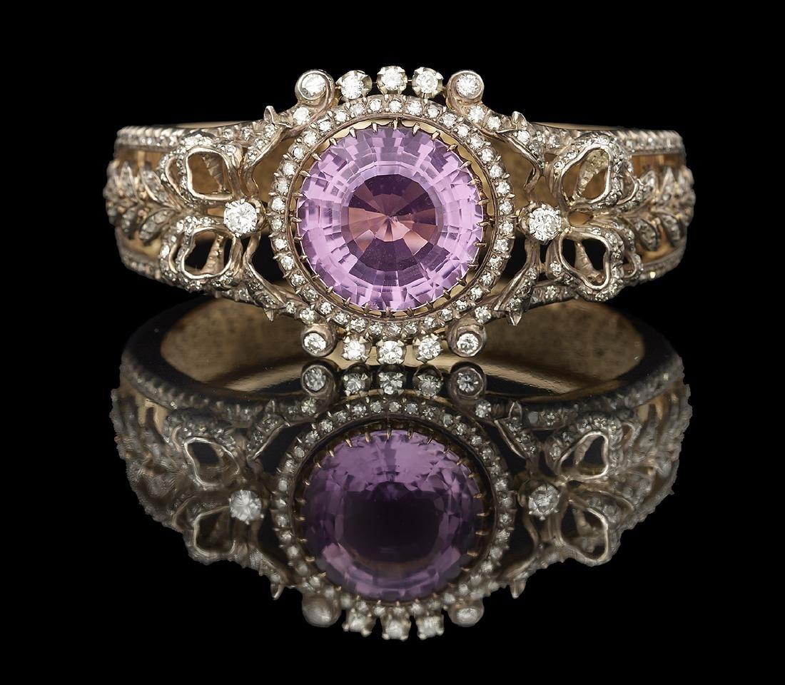 Amethyst and Diamond Bangle Bracelet