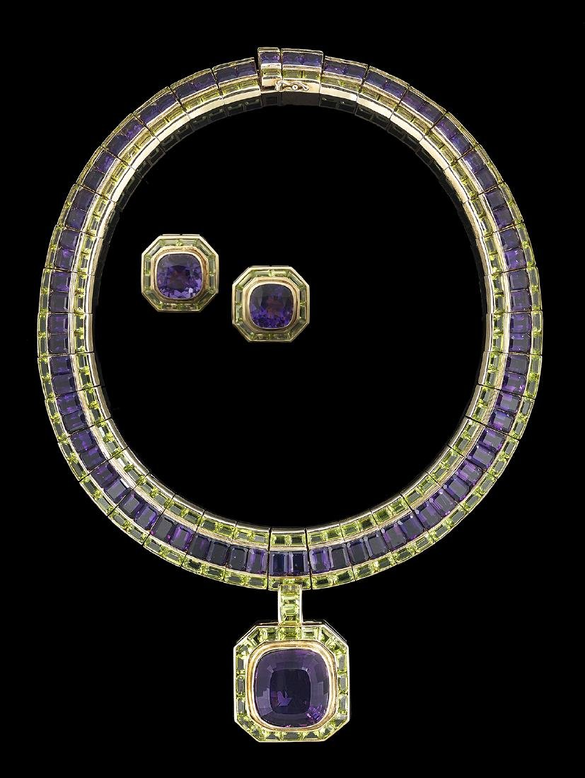 Amethyst and Peridot Necklace and Earring Suite