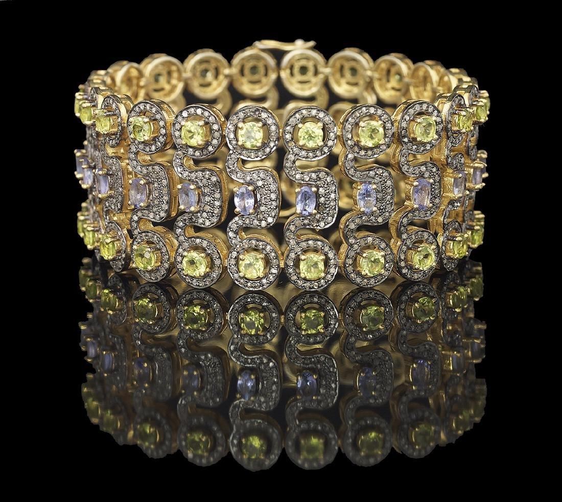 Peridot, Tanzanite and Diamond Bracelet