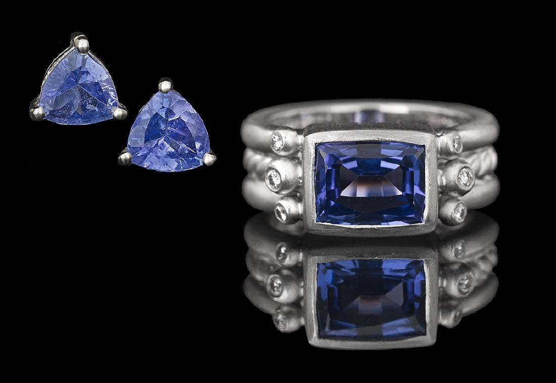 Tanzanite and Diamond Ring with Earrings