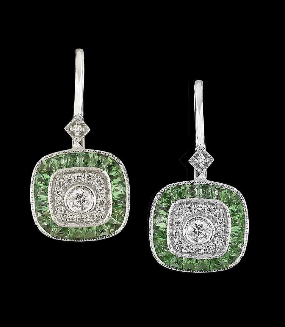 Diamond and Tsavorite Garnet Earrings