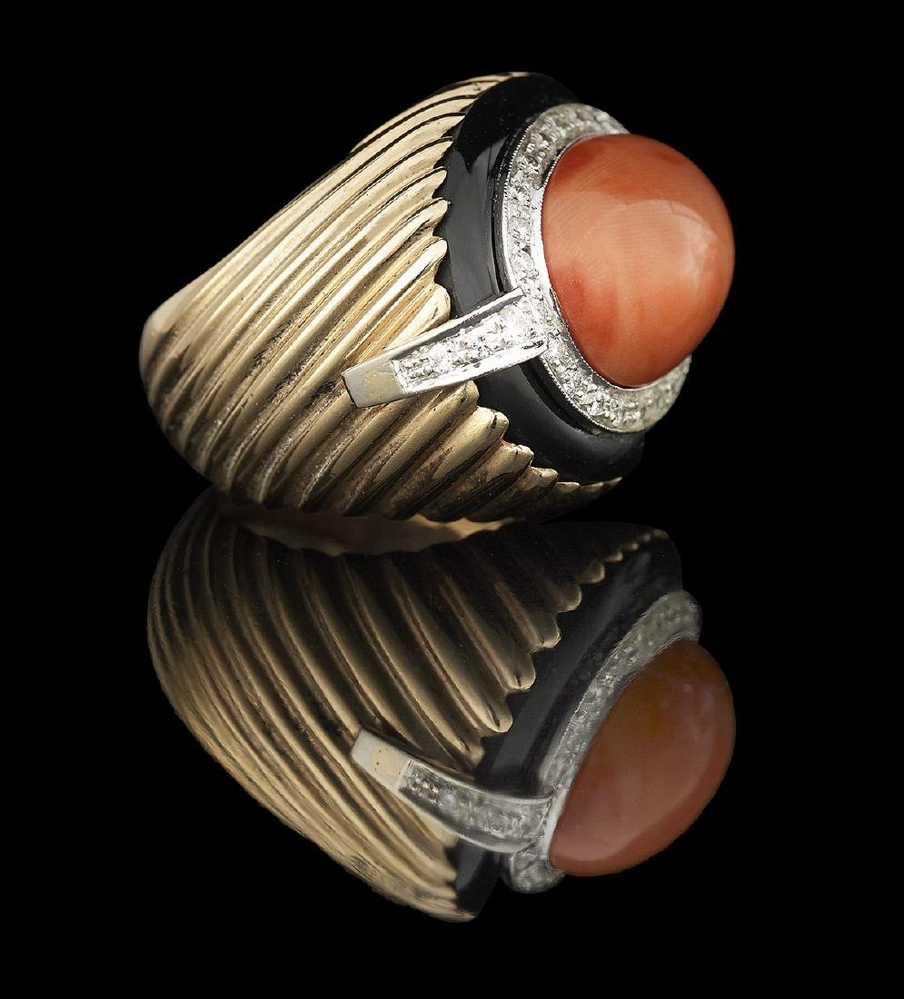 Coral, Diamond and Onyx Ring